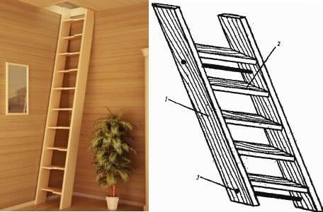 Лестница из дерева переносная