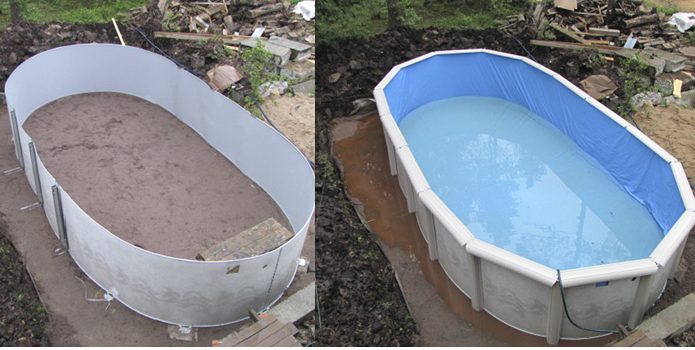 Бассейн для воды на даче своими руками