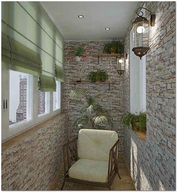 Дизайн балкона под камень фото