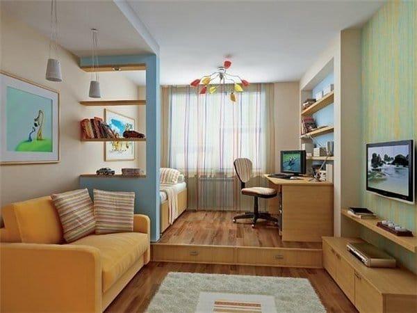 Дизайн узкой комнаты в хрущевке на две зоны