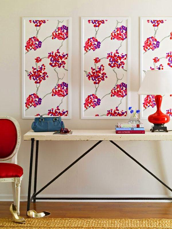 Картины обоями на стене своими руками 599