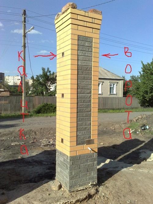Кирпичный столб для ворот своими руками 574