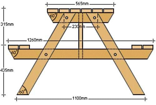 Как сделать дачный стол своими руками чертежи 57