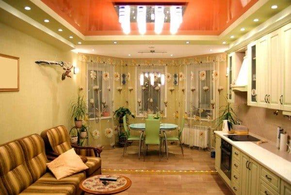 Дизайн натяжных потолков для кухни 13 квм 115