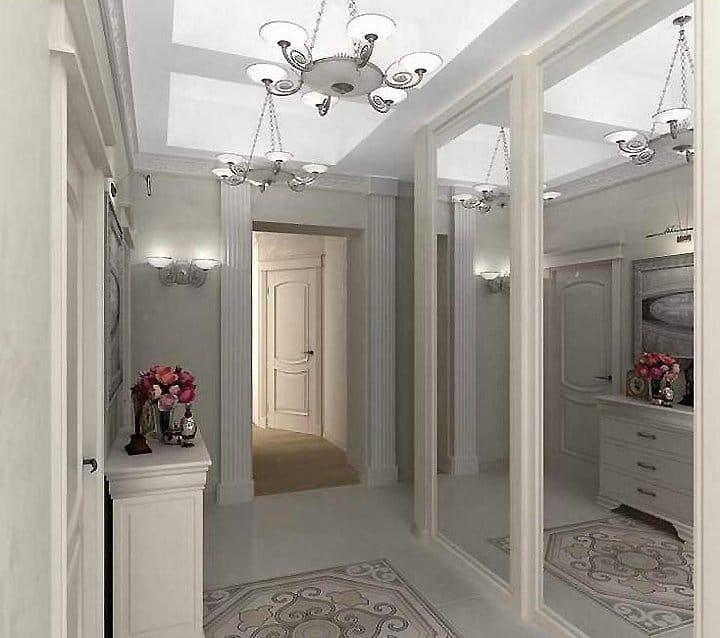 дизайн коридора входная дверь с зеркалом