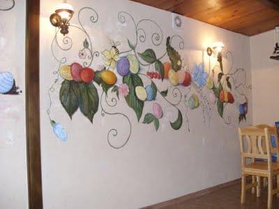 Как раскрасить своими руками стену на кухне 80