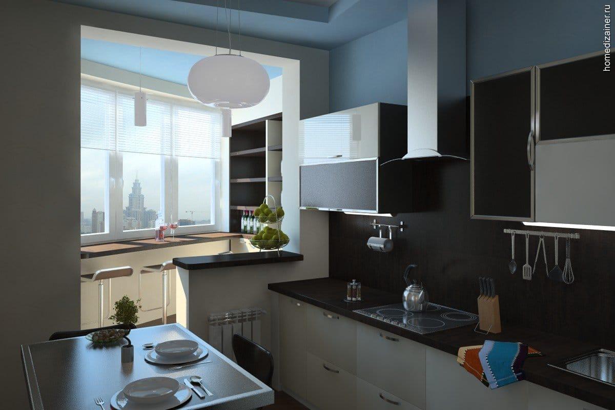 Кухня с лоджией дизайн фото