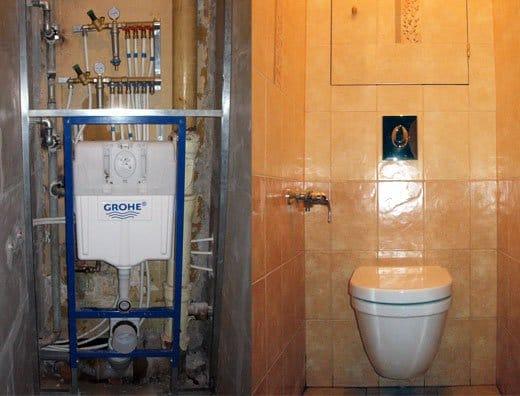 Как сделать туалет подвесной 305