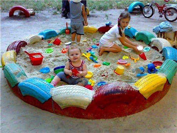 Как сделать песочницу из колес своими руками фото