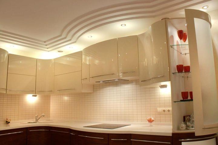Потолки из гипсокартона фото для кухни как сделать