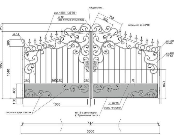 Как сделать чертеж ворот