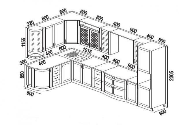 Угловая кухня своими руками из дерева чертежи 97