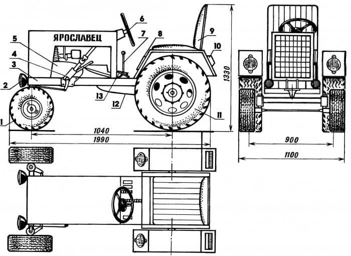 Минитрактор из мотоблока кентавр своими руками чертежи 71