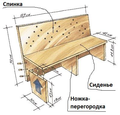Раскладной диван для кухни своими руками чертежи 60