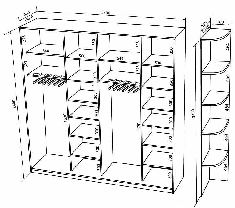 Шкаф купе своими руками чертежи и схемы толщина полок 80