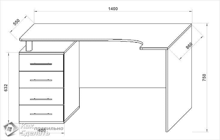 Схемы и чертежи компьютерного стола