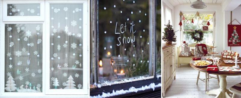 Новогоднее украшение окон стильно и красиво своими руками