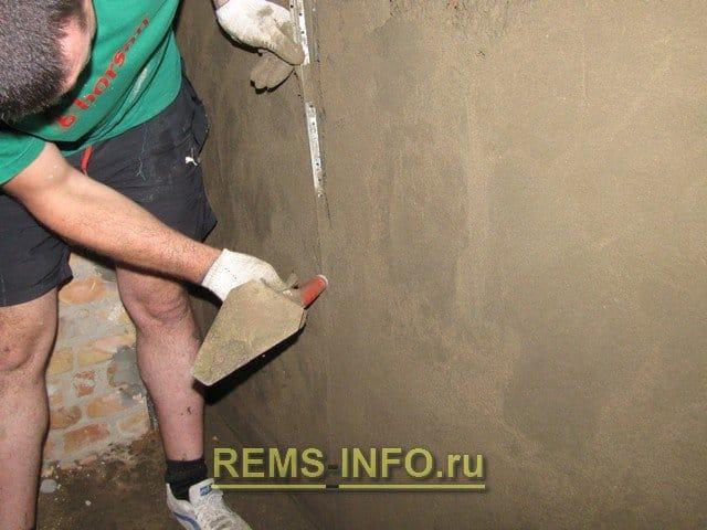 Штукатурка стен цементным раствором своими руками без маяков 86