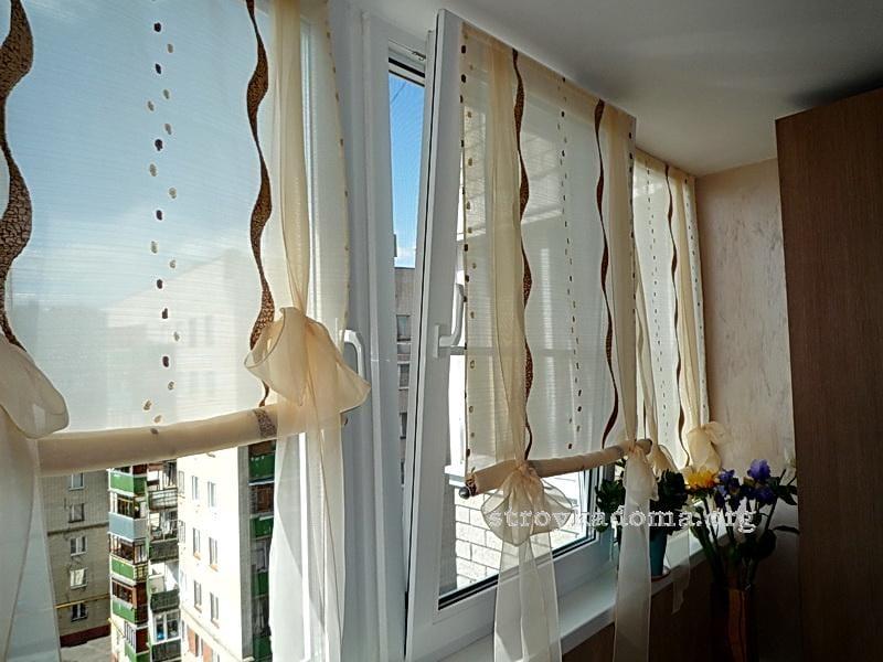 Шторы для балкона с завязками своими руками 1