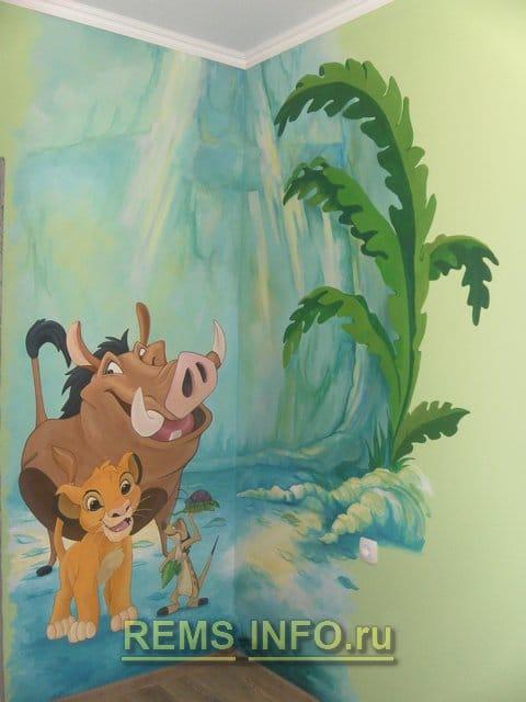 Художній розпис стін дитячої кімнати акриловими фарбами своїми руками.