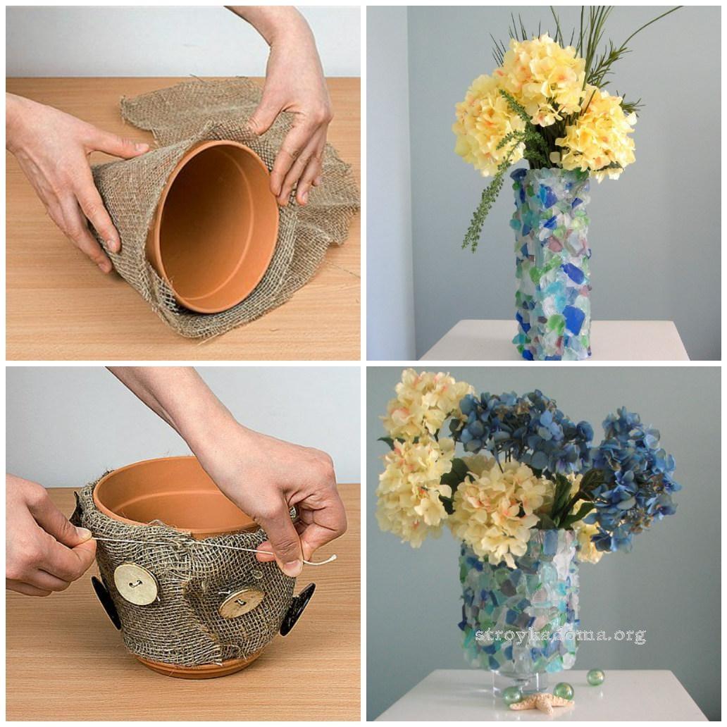 Декоративный горшок для цветов своими руками фото