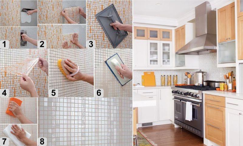 Как уложить фартук на кухне своими руками