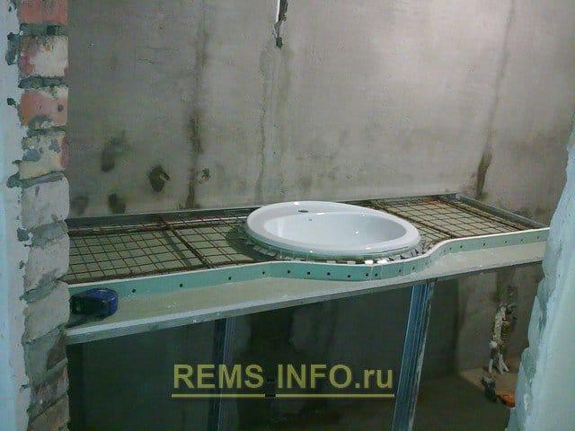 Столешница в ванную из гипсокартона своими руками 20