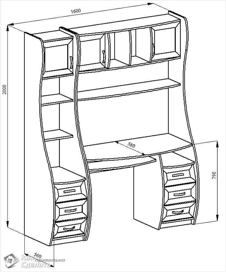 Мебель своими руками компьютерный стол чертеж 1002
