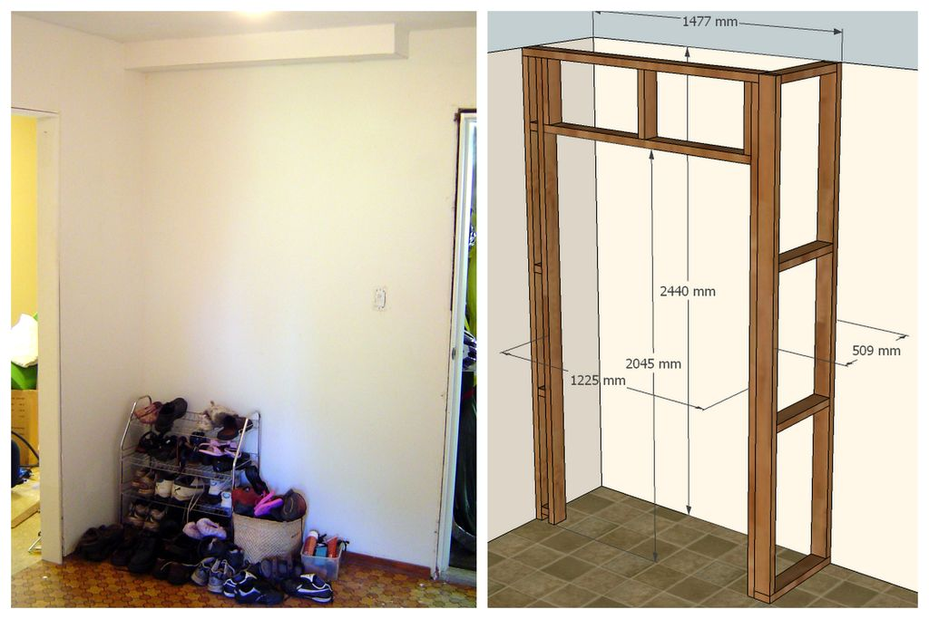 Как сделать стенку с дверью 83