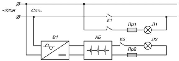 Схемы источник аварийного освещения