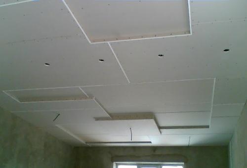 Потолок из гипсокартона своими руками квадраты 65