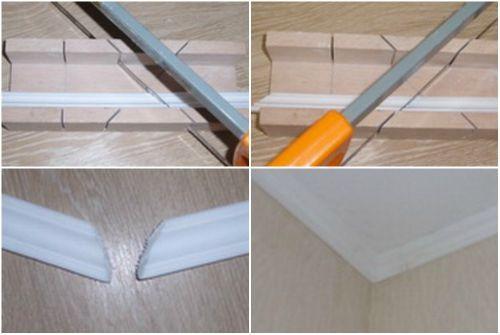 Как правильно сделать уголок у потолочного плинтуса