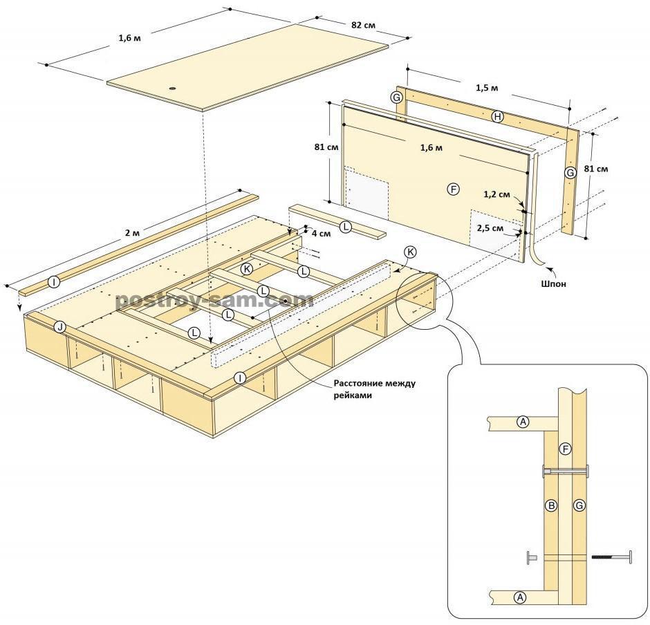 Кровать-подиум своими руками чертежи и размеры схемы и проекты эскизы