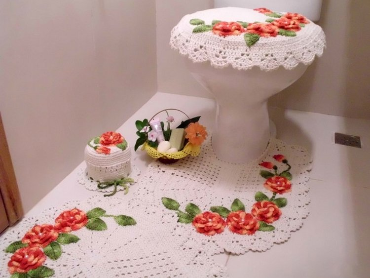 Вязание крючком коврик для туалета 56