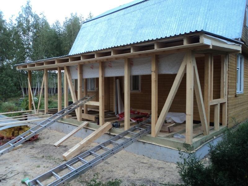 Деревянная пристройка к деревянному дому своими руками 338