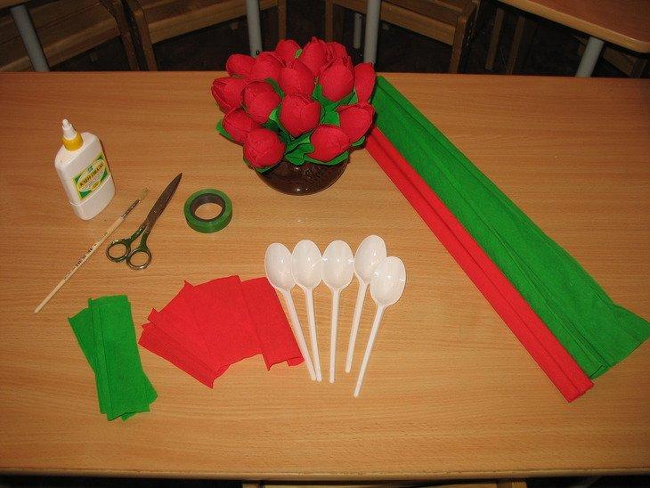 Тюльпаны из салфеток своими руками пошаговое фото 37