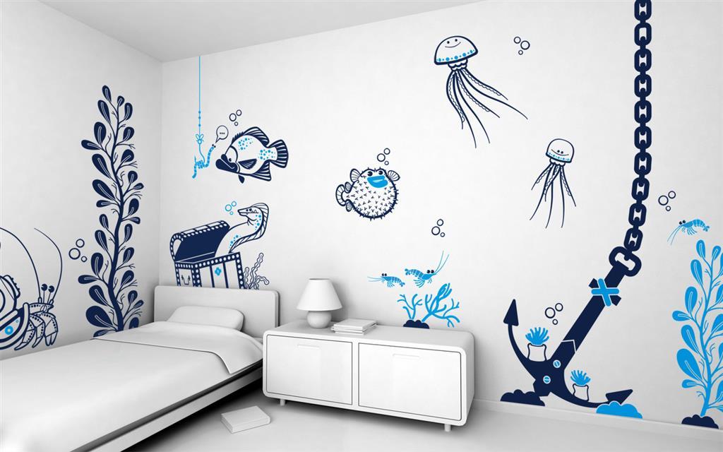 Декоративные рисунки на стенах своими руками 21