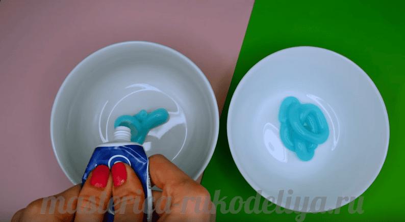 Как сделать лизуна из зубной пасты и шампуня без клея пва