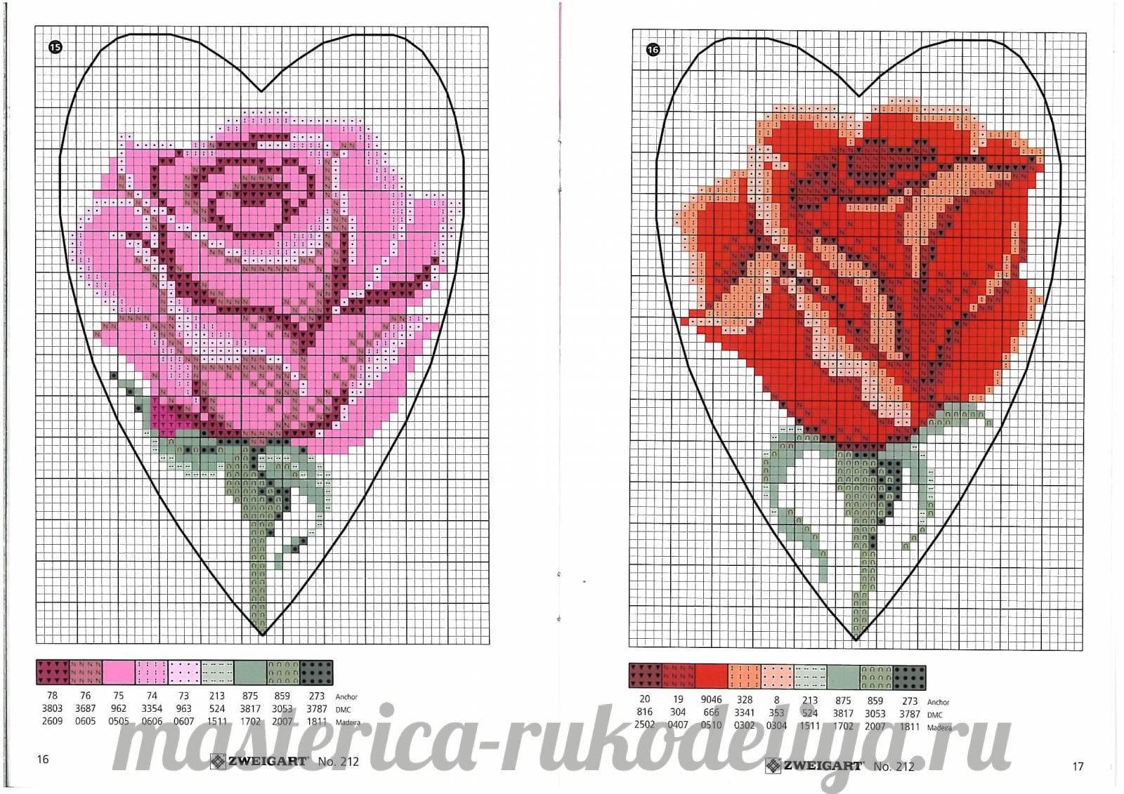 Вышивка крестом роза простая схема 89