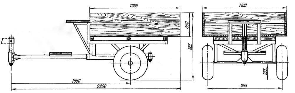 Мотоблочный прицеп своими руками чертежи 38