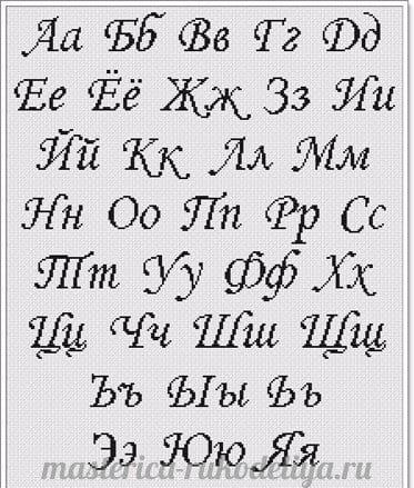 Вышивка алфавита на метрику