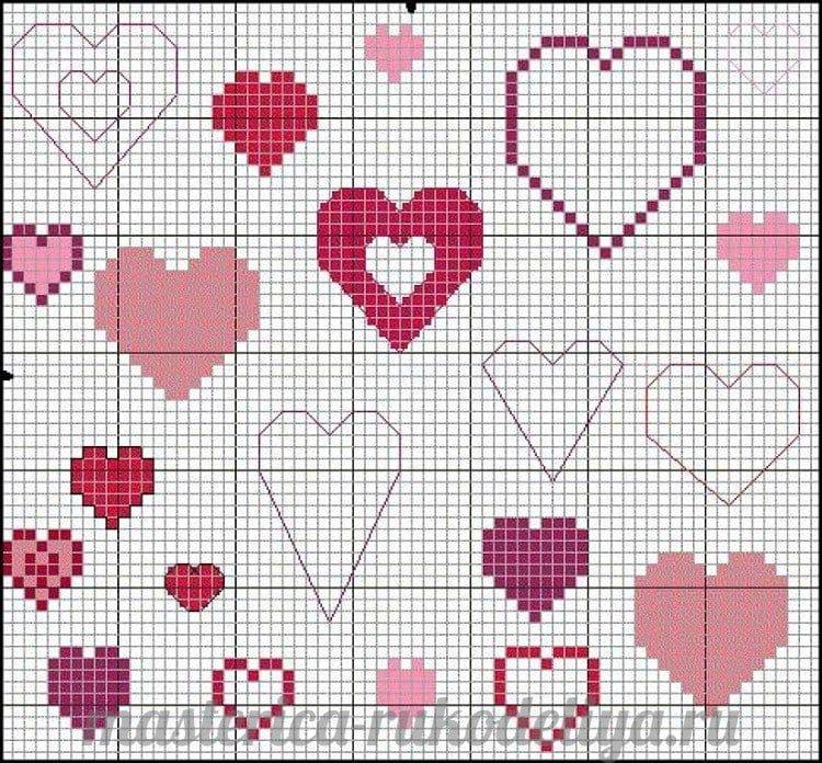 Сердце для вышивки крестиком 19