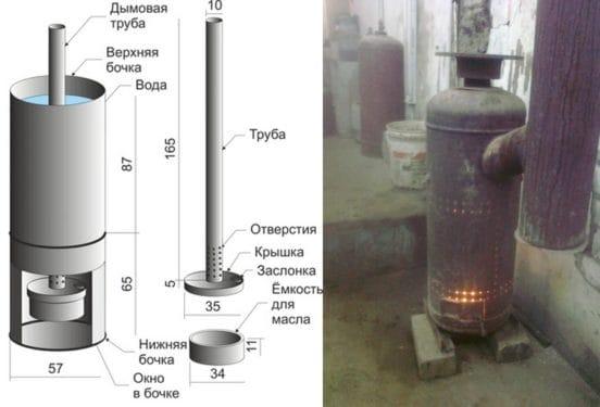 Как сделать печь чертеж на отработке из газового баллона своими руками