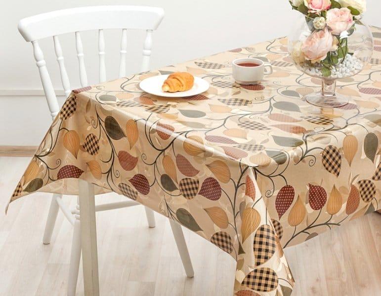 Скатертина-клейонка на стіл для кухні: на тканинній основі, прозора, кругла, кращі бренди