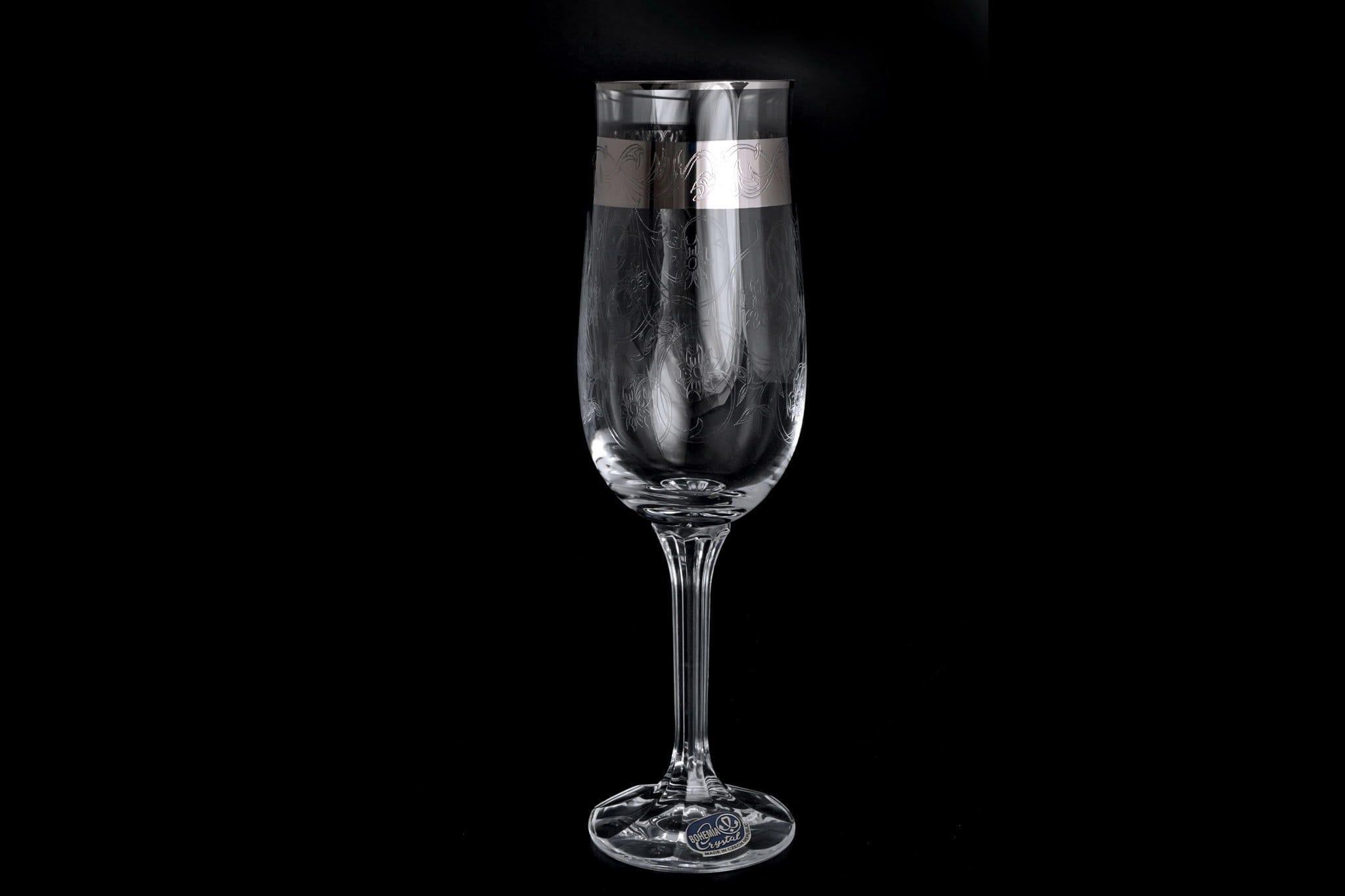 Фужери «Богемія» з Чехії: келихи для шампанського з богемського скла, модель «Анжела», серія «Crystal»